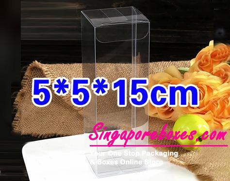 5*5*15cm Tuck Top Transparent Rectangular PVC Boxes