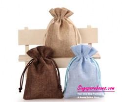 10*14cm Colored Natural Drawstring Jute Bag Pouch (Multiple Colors)