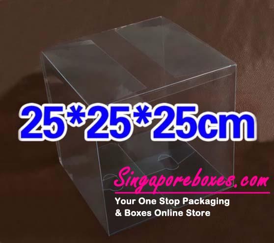 25*25*25cm Tuck Top Transparent Square PVC Boxes