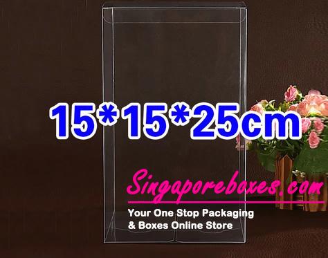 15*15*25cm Tuck Top Transparent Rectangular PVC Boxes
