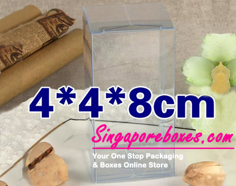 4*4*8cm Tuck Top Transparent Rectangular PVC Boxes
