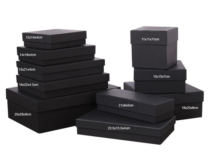Standard Size Rigid Black Cardboard Gift Boxes (12 Sizes)