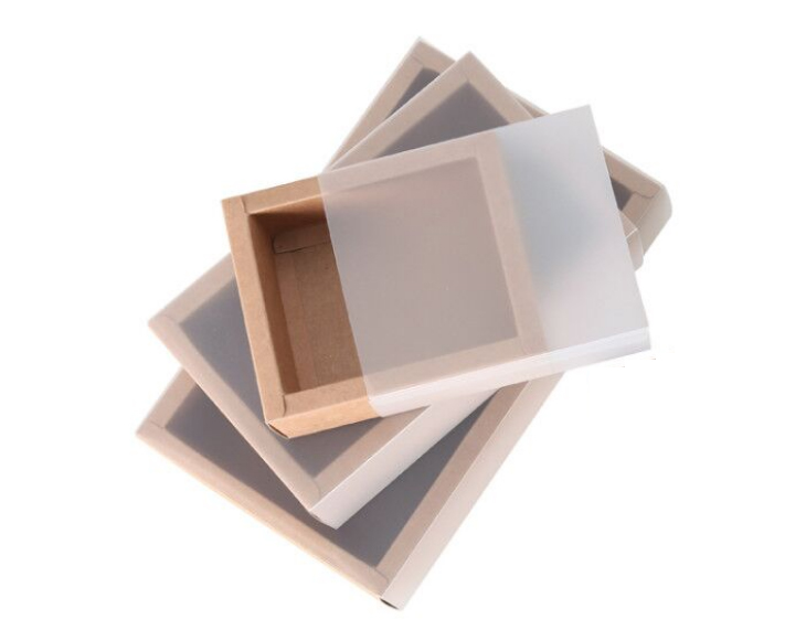 Standard Size Kraft Paper Box  with Transparent Cover(10 Sizes)