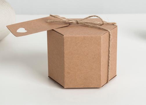 8.5*7cm Kraft Hexagon Paper box